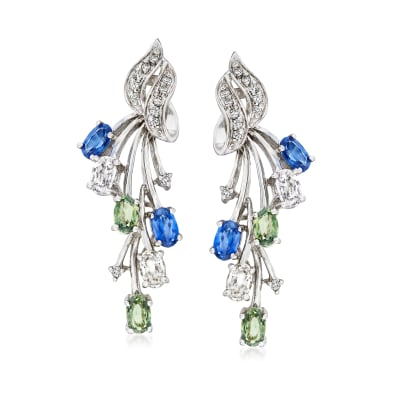 C. 1980 Vintage 3.00 ct. t.w. Multicolored Sapphire and .20 ct. t.w. Diamond Drop Earrings in 14kt White Gold