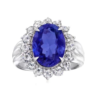C. 1980 Vintage 4.50 Carat Tanzanite and 1.15 ct. t.w. Diamond Ring in Platinum