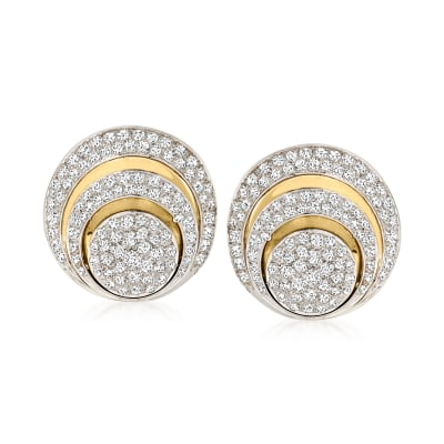 C. 1970 Vintage 3.55 ct. t.w. Diamond Button Clip-On Earrings in 14kt Two-Tone Gold