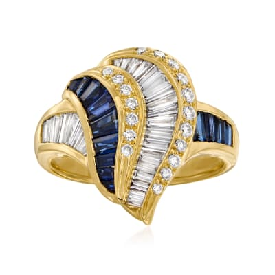 C. 1980 Vintage 1.22 ct. t.w. Sapphire and .98 ct. t.w. Diamond Swirl Ring in 18kt Yellow Gold