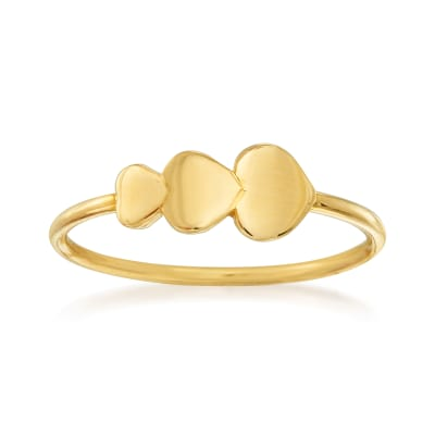 14kt Yellow Gold Triple-Heart Ring