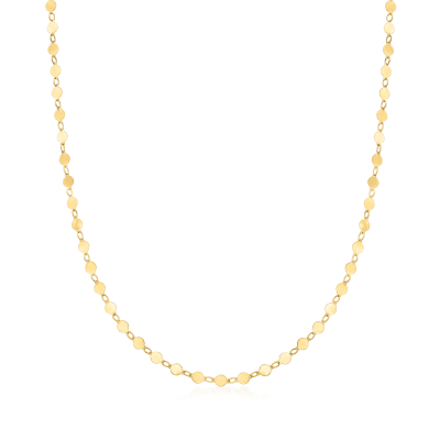 14kt Yellow Gold Round Mirror-Link Chain Necklace