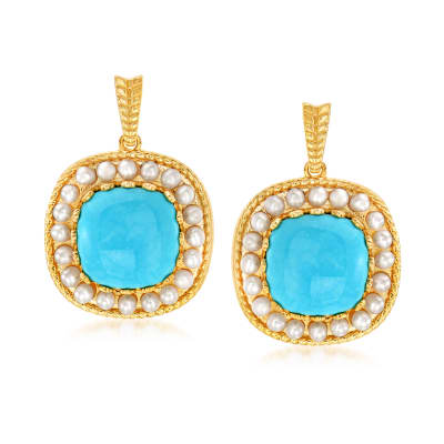 Turquoise and 1.5mm Cultured Pearl Drop Earrings in 18kt Gold Over Sterling