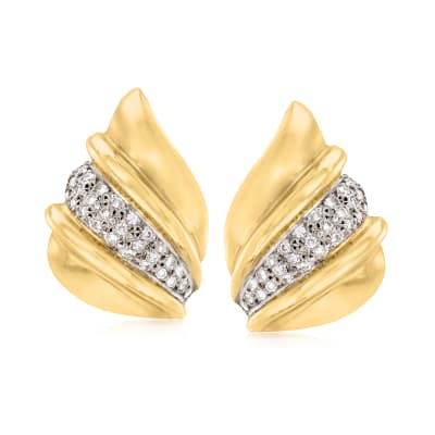 C. 1980 Vintage 1.10 ct. t.w. Diamond Wing-Shaped Earrings in 14kt Yellow Gold