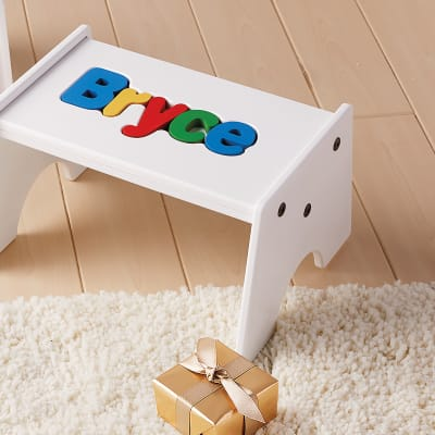 Child's Personalized Name Puzzle Stool - Primary Colors