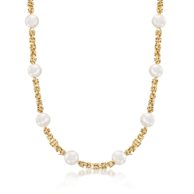 9mm Cultured Pearl and 14kt Yellow Gold Byzantine Station Necklace