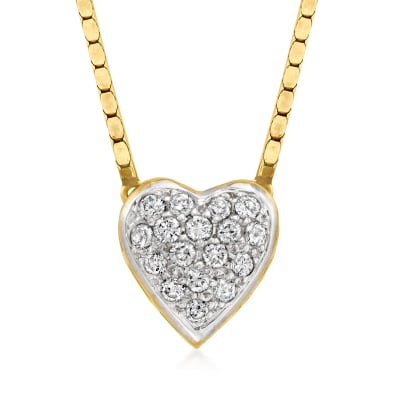 C. 1980 Vintage .85 ct. t.w. Diamond Heart Necklace in 14kt Yellow Gold