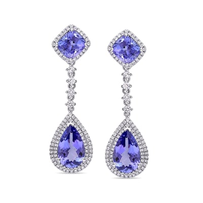 10.70 ct. t.w. Tanzanite and 1.25 ct. t.w. Diamond Drop Earrings in 14kt White Gold