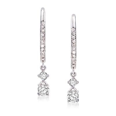 .50 ct. t.w. Diamond Double-Drop Hoop Earrings in 14kt White Gold