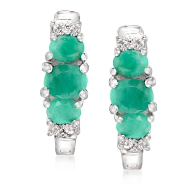 1.06 ct. t.w. Emerald and .16 ct. t.w. White Topaz Earrings in Sterling Silver