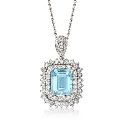3.20 Carat Aquamarine and 1.40 ct. t.w. Diamond Pendant Necklace in 14kt White Gold