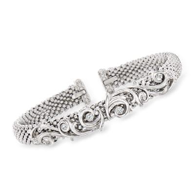 """Phillip Gavriel """"Popcorn"""" .18 ct. t.w. Diamond Baroque-Style Cuff Bracelet in Sterling Silver"""