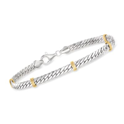 Sterling Silver and 14kt Yellow Gold Cuban-Link Bracelet