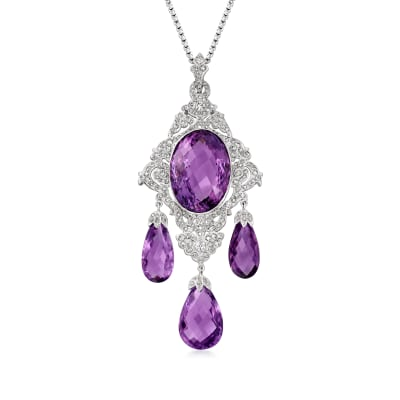 C. 1990 Vintage 47.75 ct. t.w. Amethyst and 2.23 ct. t.w. Diamond Pendant Necklace in 14kt White Gold