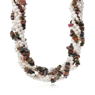 220.00 ct. t.w. Multicolored Tourmaline and 5-6mm Cultured Pearl Torsade Necklace in Sterling Silver