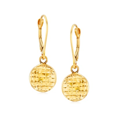 14kt Yellow Gold Textured and Polished Disc Drop Earrings