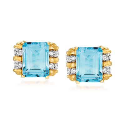 4.20 ct. t.w. Sky Blue Topaz and .20 ct. t.w. Diamond Earrings in 14kt Yellow Gold