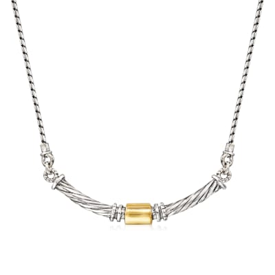Sterling Silver and 14kt Yellow Gold Curved Necklace