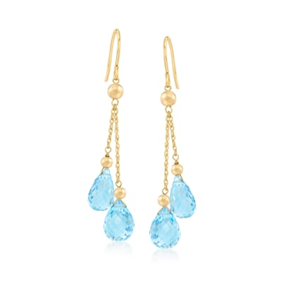 19.00 ct. t.w. Sky Blue Topaz Double-Drop Earrings in 14kt Yellow Gold