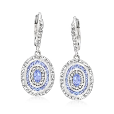 1.00 ct. t.w. Tanzanite and .90 ct. t.w. White Topaz Oval Drop Earrings in Sterling Silver