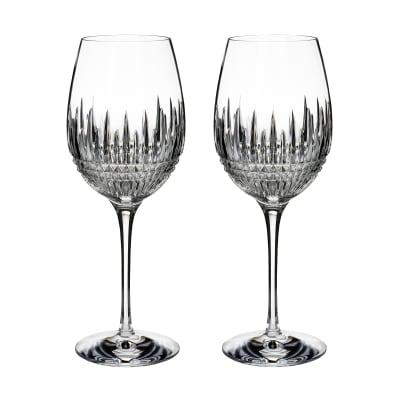 "Waterford Crystal ""Diamond Essence"" Set of 2 Lismore Goblet Glasses"
