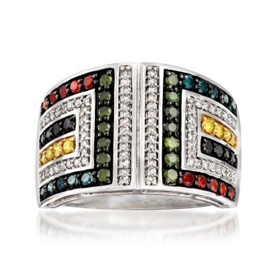 1.00 ct. t.w. Multicolored Diamond Geometric Ring in 14kt White Gold