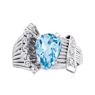 C. 1950 Vintage 1.75 Carat Aquamarine and .25 ct. t.w. Diamond Ring in Platinum