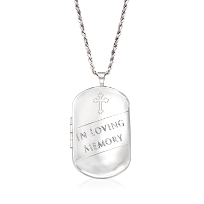 """In Loving Memory"" Cross Memorial and Photo Locket Pendant Necklace in Sterling Silver"