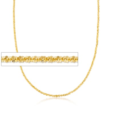 Italian 2mm 18kt Gold Over Sterling Silver Diamond-Cut Crisscross Chain Necklace