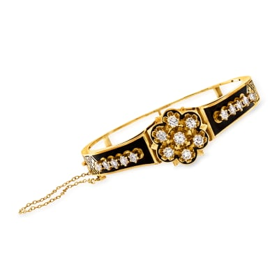 C. 1950 Vintage Black Enamel and 2.15 ct. t.w. Diamond Flower Bangle Bracelet in 14kt Yellow Gold