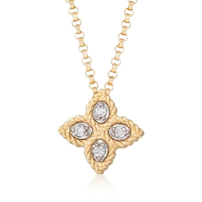 "Roberto Coin ""Princess"" 18kt Yellow Gold Small Flower Pendant Necklace with Diamond Accents"