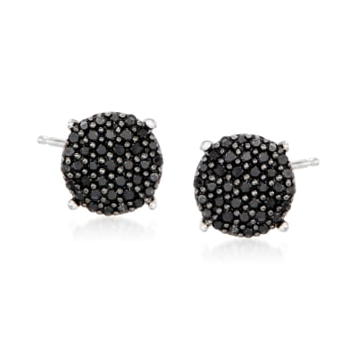 .33 ct. t.w. Black Diamond Cluster Stud Earrings in Sterling Silver
