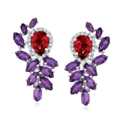 8.10 ct. t.w. Multi-Gemstone Drop Earrings in Sterling Silver