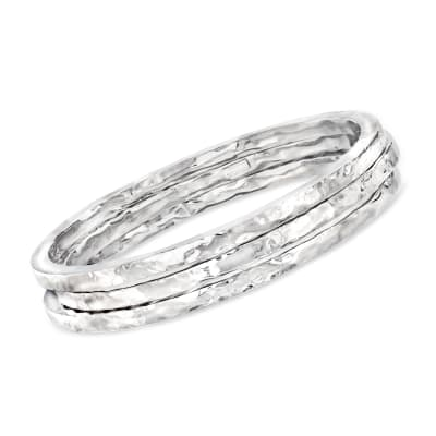 Italian Sterling Silver Jewelry Set: Three Hammered Bangle Bracelets