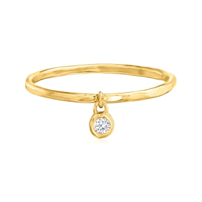14kt Yellow Gold Bezel-Set Diamond Accent Charm Ring