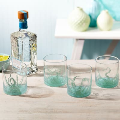 """Octopus"" Set of Four Ocean Water Double Old Fashioned Glasses"