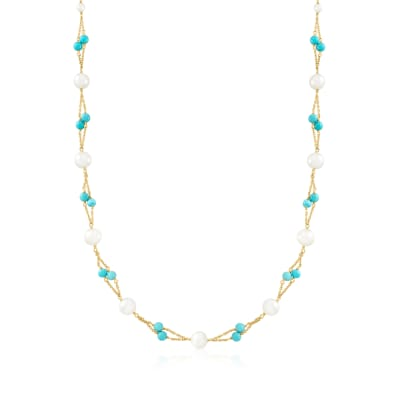 Cultured Pearl and Turquoise Station Necklace in 18kt Gold Over Sterling