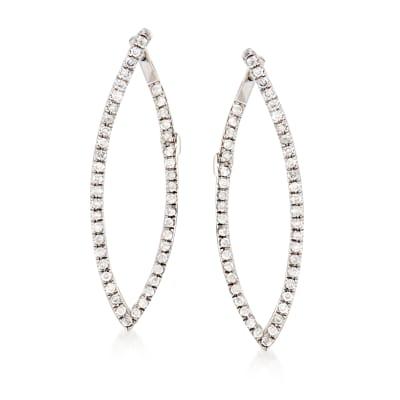 .25 ct. t.w. Diamond Front-Back Hoop Earrings in 14kt White Gold