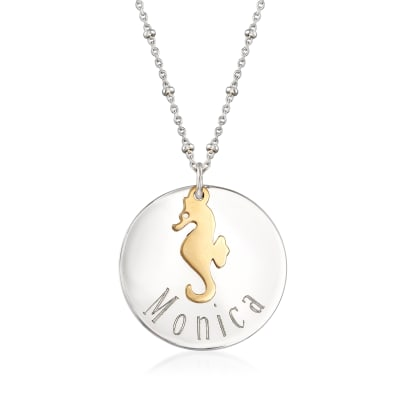 Sterling Silver Personalized Disc Necklace with 14kt Yellow Gold Seahorse Charm