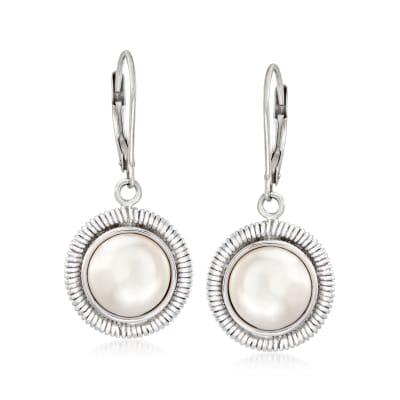 10mm Cultured Pearl Drop Earrings in Sterling Silver