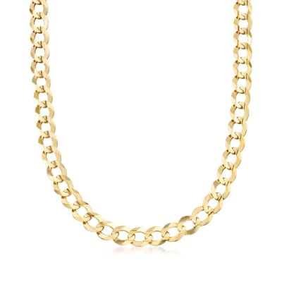 Men's 10mm 14kt Yellow Gold Faceted Curb-Link Chain Necklace