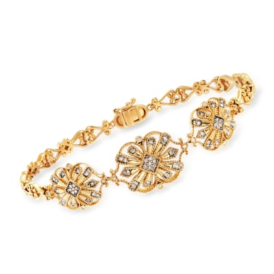 .20 ct. t.w. Diamond Openwork Bracelet in 18kt Gold Over Sterling