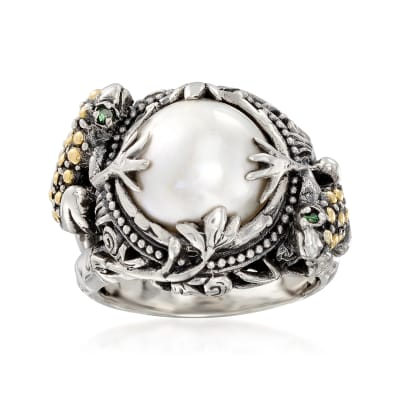 12mm Mabe Pearl Frog Ring in Sterling Silver with 18kt Gold