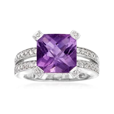C. 1990 Vintage 3.55 Carat Amethyst and .85 ct. t.w. Diamond Ring in 14kt White Gold