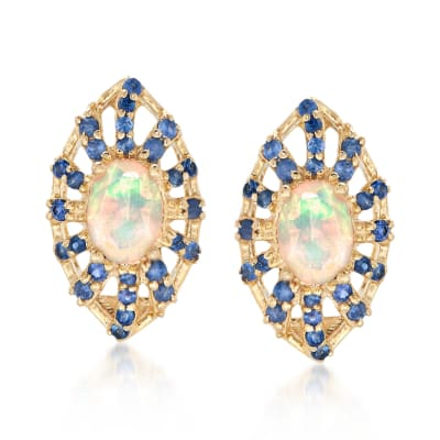 Opal and 1.60 ct. t.w. Sapphire Earrings in 14kt Yellow Gold
