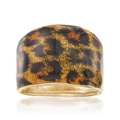 Italian Leopard Print Enamel Dome Ring in 14kt Yellow Gold