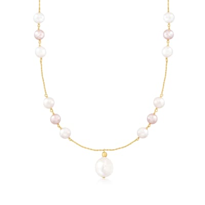 8-14mm Pink and White Cultured Pearl Station Necklace in 14kt Yellow Gold