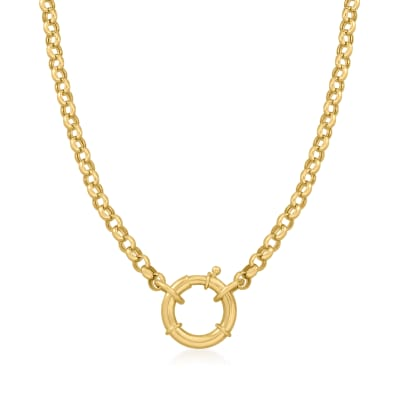 14kt Yellow Gold Rolo Chain Springring Necklace