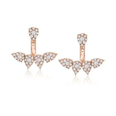 1.35 ct. t.w. Diamond Cluster Front-Back Earrings in 18kt Rose Gold