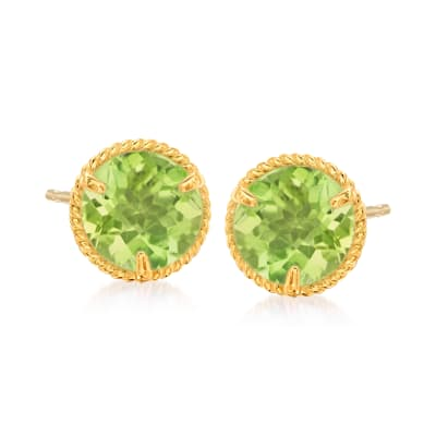 1.80 ct. t.w. Peridot Roped Halo Stud Earrings in 14kt Yellow Gold
